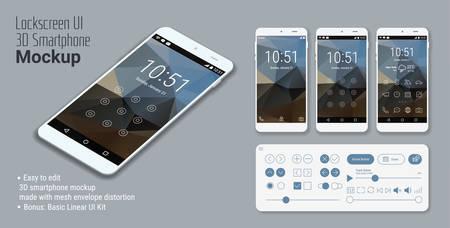 3次元等尺性のフラット デザイン lockscreen モバイル UI のモックアップを三角形の抽象的な幾何学的風景の背景と基本的な線形 UI キット
