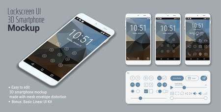 3d isometric flat design lockscreen mobile UI mock up, with triangular abstract geometric landscape background and basic linear UI kit