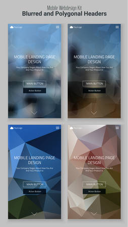 Trendy blurred polygonal mobile website landing page header slider webdesign kit