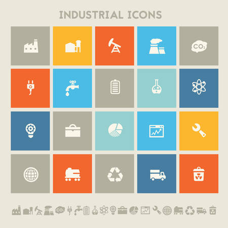 icon set: Modern flat design multicolored industrial icons collection