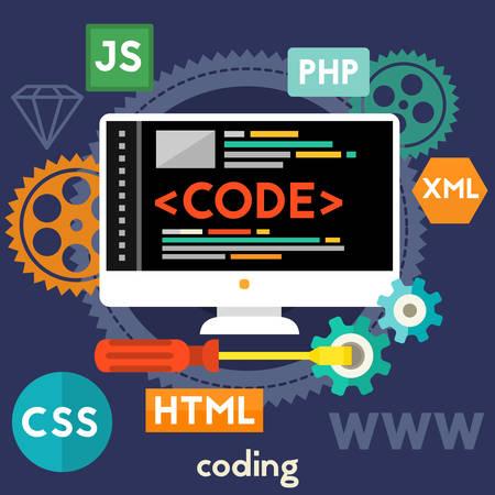 software design: Coding concept banner. Square composition, vector illustration