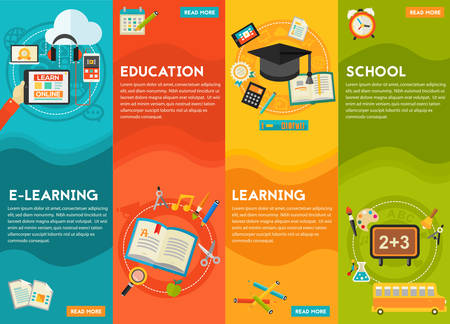 elearning: Education Concept - Classical education and library, high school education, back to school, e-learning. Flat style vector illustration online web banner