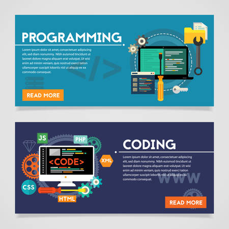 scripting: Programming and coding, scripting and website development concepts. Horizontal banners
