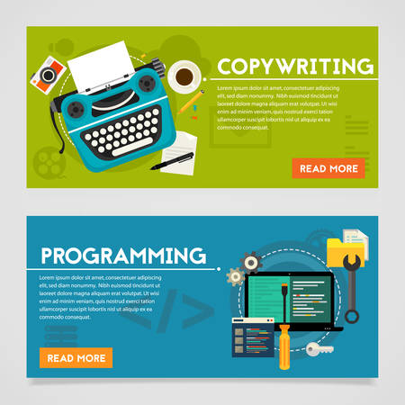copywriting: Programming and copywriting, website development and viral marketing concepts. Horizontal banners