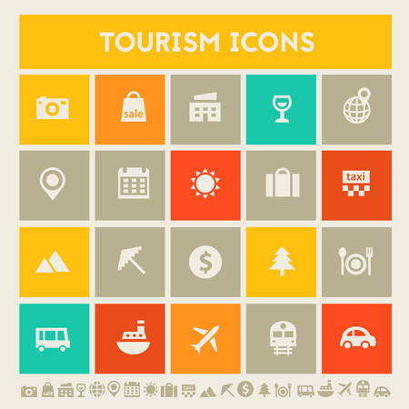 gallery: Modern flat design multicolored tourism icons collection