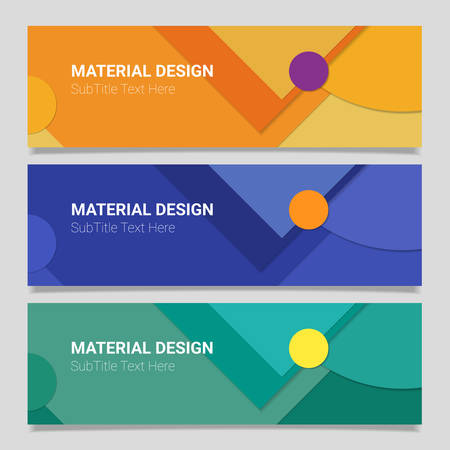 Abstract vector material design backgrounds on horizontal banners