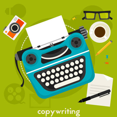 copywriting: Copywriting concept banner. Square composition, vector illustration