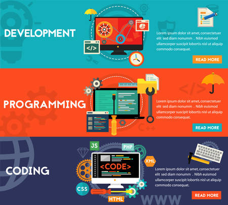 learning materials: Programming and coding, scripting and website development concepts. Horizontal banners