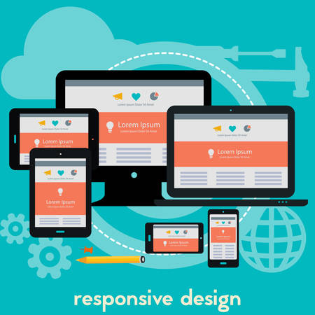 square composition: Responsive webdesign technology concept banner. Square composition
