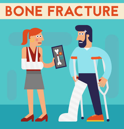 accident patient: Vector concept cartoon character illustration bone fracture medical healthcare accident Illustration