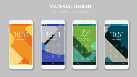 business card design: Trendy mobile smartphone UI kit, material geometric backgrounds. Welcome, lock and home page screens
