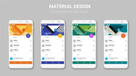 유행 모바일 스마트 폰 UI 키트, 재료 기하학적 배경입니다. 파일 관리자 물질 UI 앱 화면 일러스트