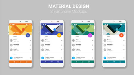 Trendy mobile smartphone UI kit, material geometric backgrounds. File manager material UI app screens Çizim