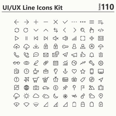 110 UI and UX big bold line icons collection, for mobile interfaces, white on black background