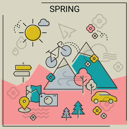 holyday: Weather and seasonal conceptual banners for mobile apps. Spring. Line bold design vector illustration online web banner