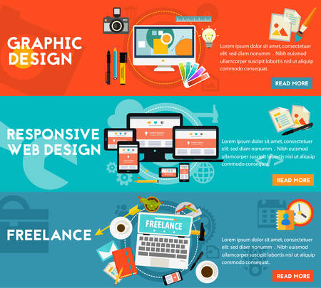 freelance: Graphic and responsive webdesign, freelance concept. Horizontal banners