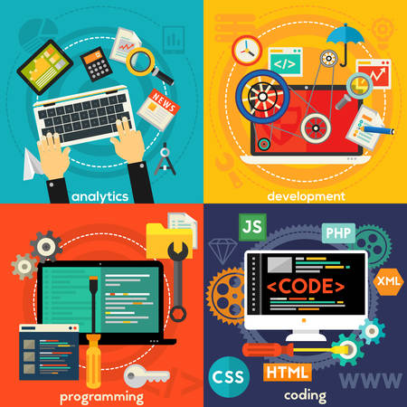 scripting: Programming and coding, scripting and website development, analytics and SEO concepts. Horizontal banners