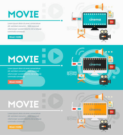 Concept of video production and motion graphic. Flat style vector illustration online web banner Иллюстрация