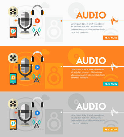 casts: Audio production and podcast concept. Flat style vector illustration online web banner