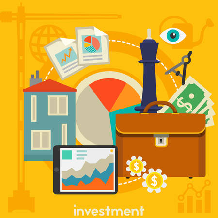 investment concept: Investment concept banner. Square composition, vector illustration