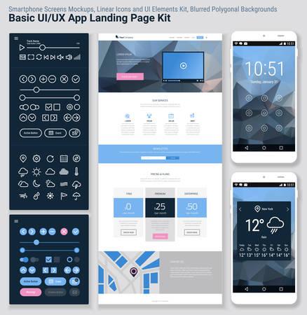 kit design: Flat design responsive pixel perfect UI mobile app and website template with trendy polygonal header background, basic linear UI kit, calendar app widget Illustration