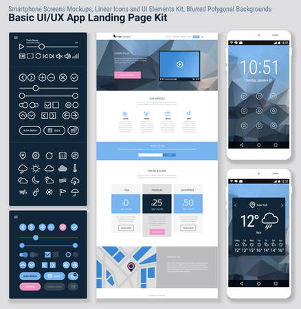 Flat design responsive pixel perfect UI mobile app and website template with trendy polygonal header background, basic linear UI kit, calendar app widget Illustration