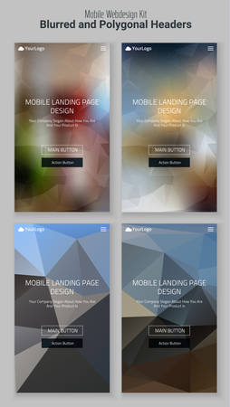 mobile website: Trendy blurred polygonal mobile website landing page header slider webdesign kit