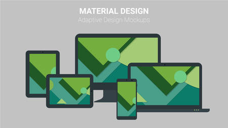 adaptive: Material design responsive and adaptive webdesign technology kit of modern electronic gadgets, with trendy material dsign backgrounds
