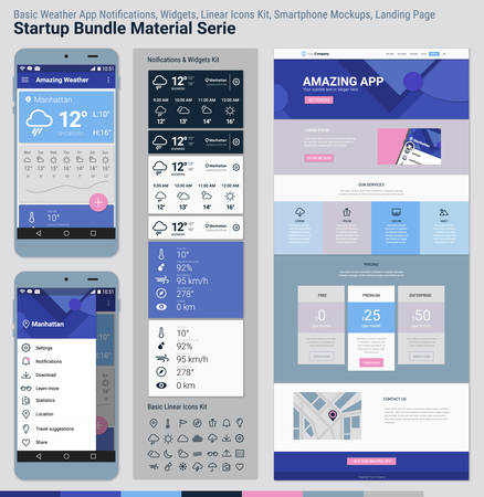 Material design responsive pixel perfect UI mobile weather app, basic linear icons, widgets and notifications kit, smartphone mockups and website landing page template with trendy polygonal header background, basic linear UI kit, calendar app widget