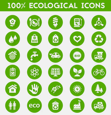 bin tub: Vector material design green ecological icons collection