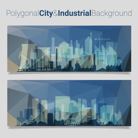 slider: Trendy polygonal website header slider webdesign kit with city skyline and industrial backgrounds