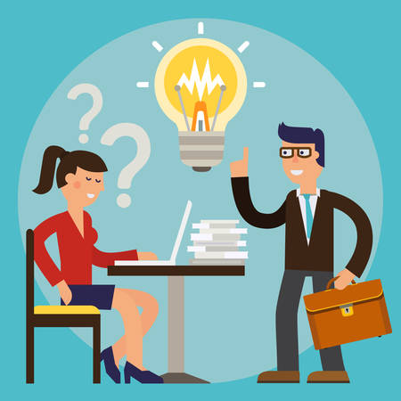 Business woman asking question and get an idea of a businessman. Vector cartoon character illustration 矢量图像