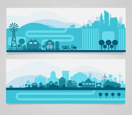 farming: Vector horizontal banners skyline Kit with various parts of city - factories, refineries, power plants and small towns or suburbs. Illustration divided on layers for create parallax effect