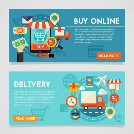 Online winkel- en leveringsconcept banner. Vierkante samenstelling, vectorillustratie