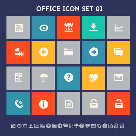 telephone icon: Modern flat design multicolored office 1 icons collection