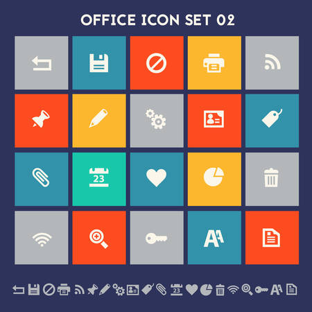 edit: Modern flat design multicolored office 2 icons collection Illustration