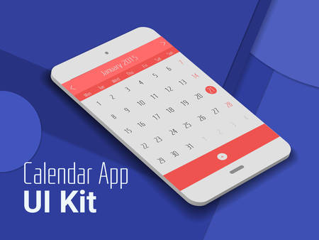 3d isometric material design calendar app mobile UI mock up, on trendy material background