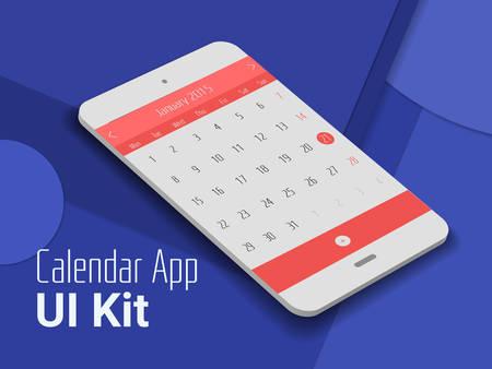 3d isometric material design calendar app mobile UI mock up, on trendy material background