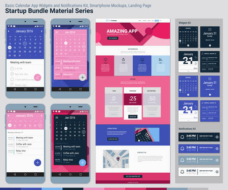 ui: Material design responsive pixel perfect UI mobile calendar app, widgets and notifications kit, smartphone mockups and website landing page template with trendy material header background. Startup Bundle Material Series