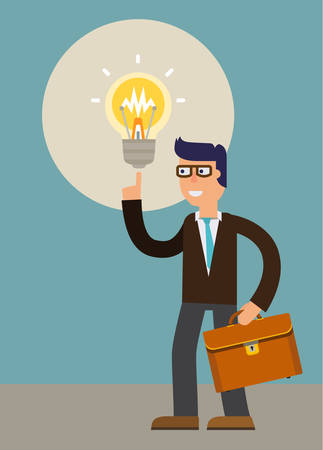 person thinking: A new idea of a businessman. cartoon character illustration Illustration