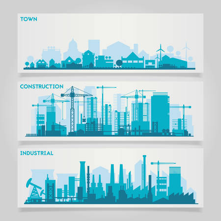 small: horizontal banners skyline Kit with factories and industrial parts of cities and small towns or suburbs. Illustration divided on layers for create parallax effect