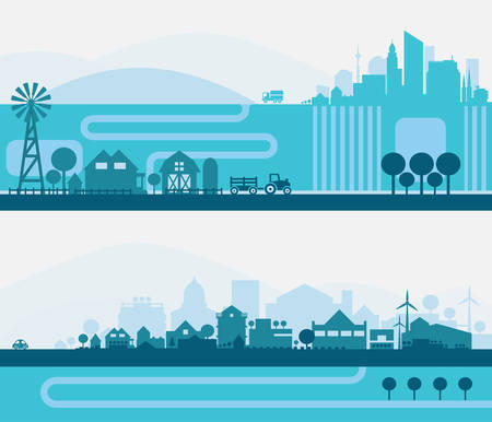 suburbs: horizontal banners skyline Kit with various parts of city - factories, refineries, power plants and small towns or suburbs. Illustration divided on layers for create parallax effect Illustration