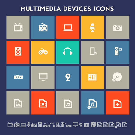 multimedia: Modern flat design multicolored icons collection of multimedia devices Illustration