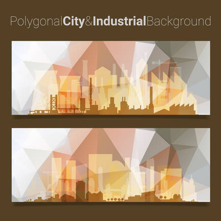 blur: Trendy blurred polygonal website header slider webdesign kit with city skyline and industrial backgrounds