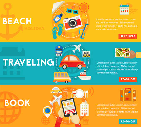 sightseeings: Holidays and Vacation On the Beach, Traveling and Tourism, Sightseeing and Shopping, Searching and Booking. Flat style illustration online web banner
