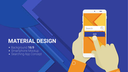 Material design hands holding mobile device with web searching app, on trendy material background Illustration