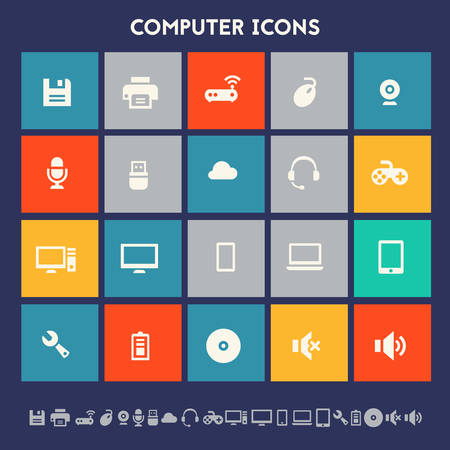 ultra modern: Modern flat design multicolored computer icons collection