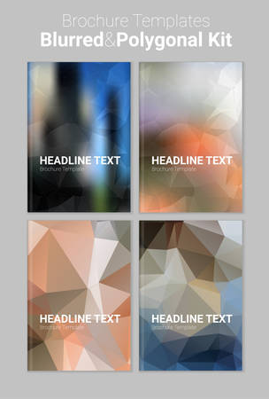 Abstract trendy vector blurred polygonal textured background brochure templates Illustration