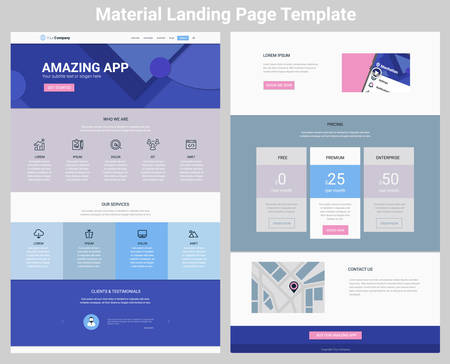 forms: Material design responsive landing page or one page website template