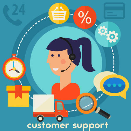 Customer Support concept banner. Square composition, vector illustration
